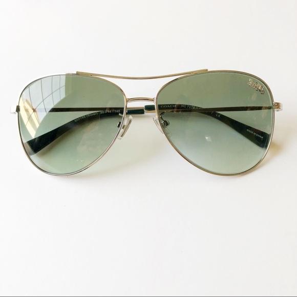 4dc5946377 Coach Accessories - Coach Green Gradient Aviator Sunglasses